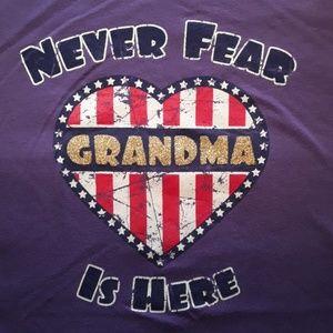 Purple girls never fear,grandma is here tshirt